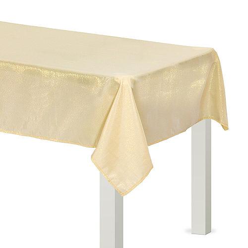 Metallic Vanilla Cream Fabric Tablecloth Image #1
