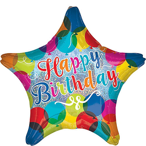 Rainbow Happy Birthday Star Balloon 17in Image #1