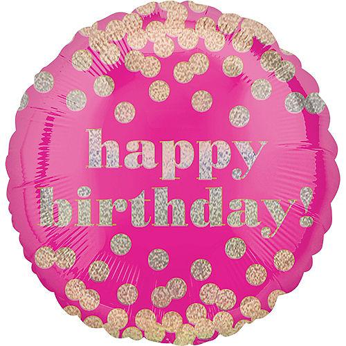 Metallic Dots Pink Happy Birthday Balloon 18in Image #1