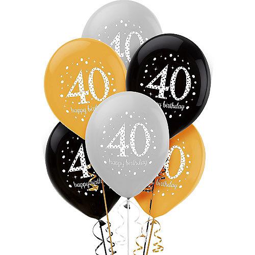 40th Birthday Balloons 6ct - Sparkling Celebration Image #1
