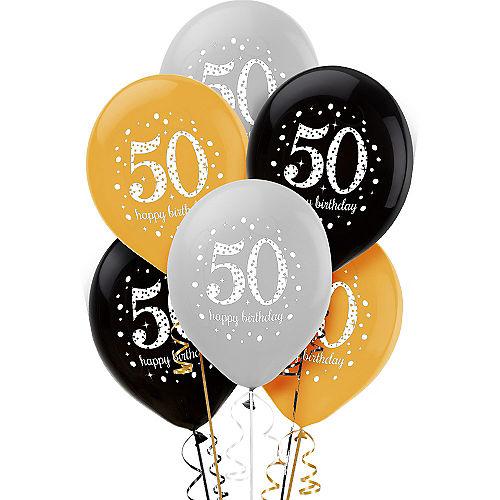 50th Birthday Balloons 6ct - Sparkling Celebration Image #1