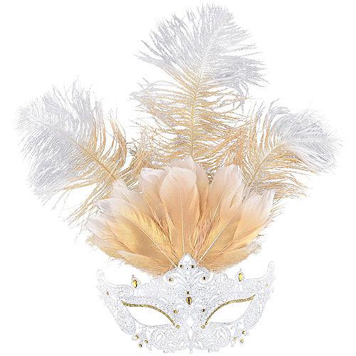 White Filigree & Feather Masquerade Mask Image #1