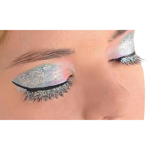 Silver Glitter False Eyelashes Image #1