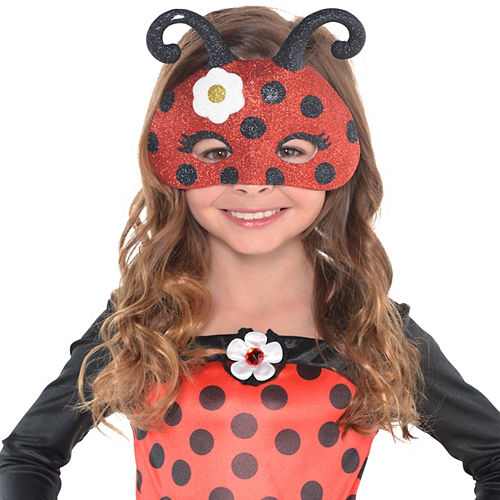 Child Glitter Ladybug Mask Image #2