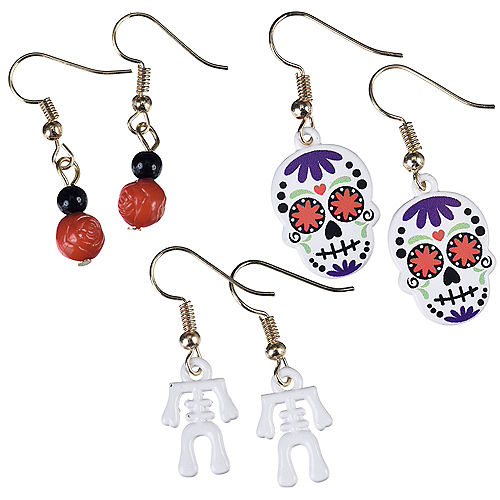 Skeleton & Sugar Skulls Halloween Earrings Set 6pc Image #1