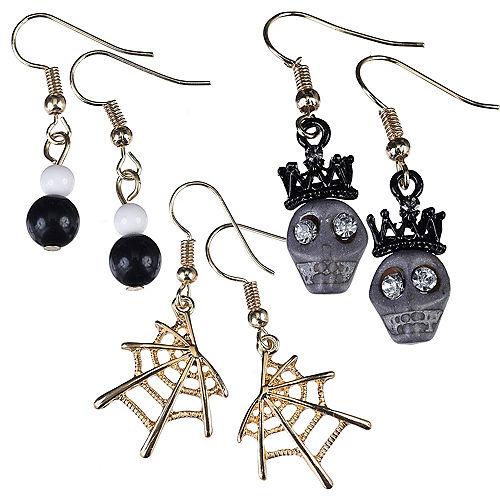 Skulls & Spider Webs Halloween Earrings Set 6pc Image #1