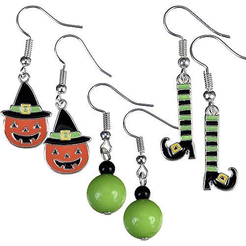 Jack-o'-Lantern & Witch Halloween Earrings Set 6pc Image #1
