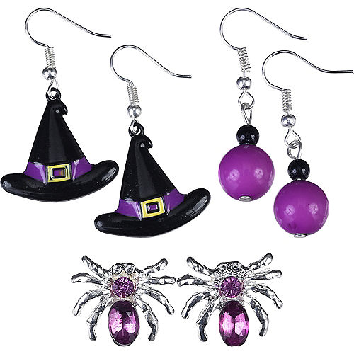Purple Spider & Witch Hat Halloween Earrings Set 6pc Image #1