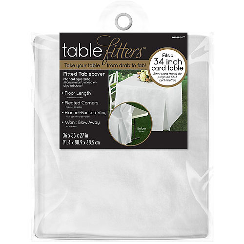 White Flannel-Backed Vinyl Fitted Table Cover Image #3