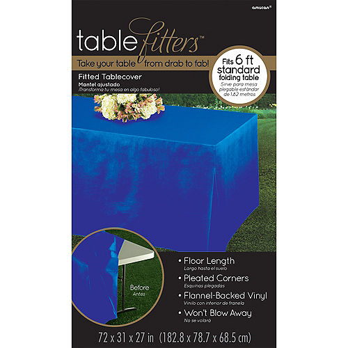 Royal Blue Flannel-Backed Vinyl Fitted Table Cover Image #3