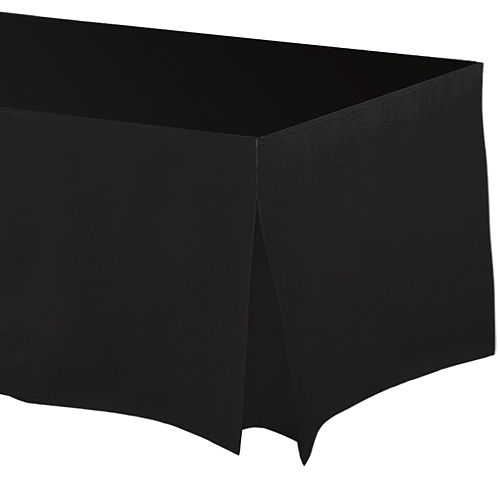 Black Flannel-Backed Vinyl Fitted Table Cover Image #1