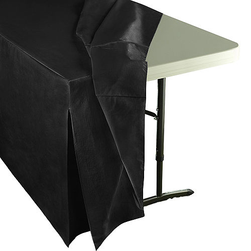 Black Flannel-Backed Vinyl Fitted Table Cover Image #2