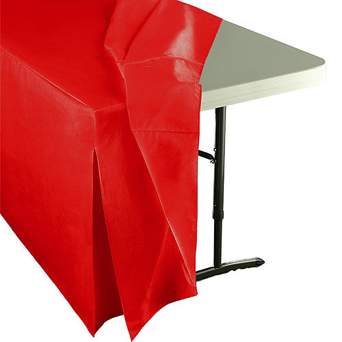 Red Flannel-Backed Vinyl Fitted Table Cover Image #2