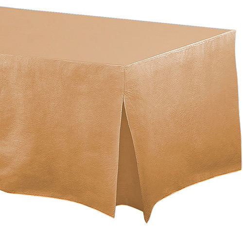 Gold Flannel-Backed Vinyl Fitted Table Cover Image #1