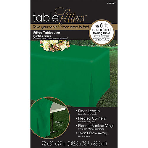 Festive Green Flannel-Backed Vinyl Fitted Table Cover Image #3