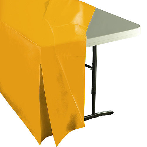 Sunshine Yellow Flannel-Backed Vinyl Fitted Table Cover Image #2