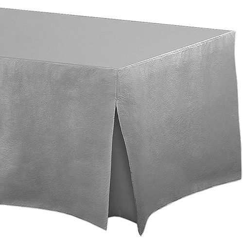 Silver Flannel-Backed Vinyl Fitted Table Cover Image #1