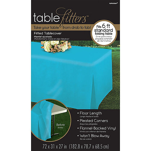Caribbean Blue Flannel-Backed Vinyl Fitted Table Cover Image #3