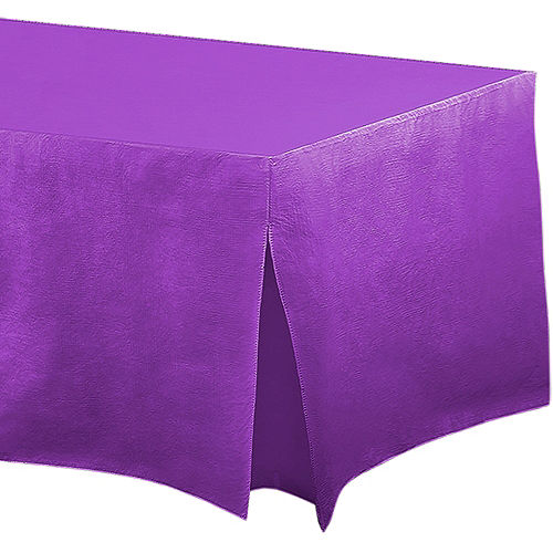 Purple Flannel-Backed Vinyl Fitted Table Cover Image #1