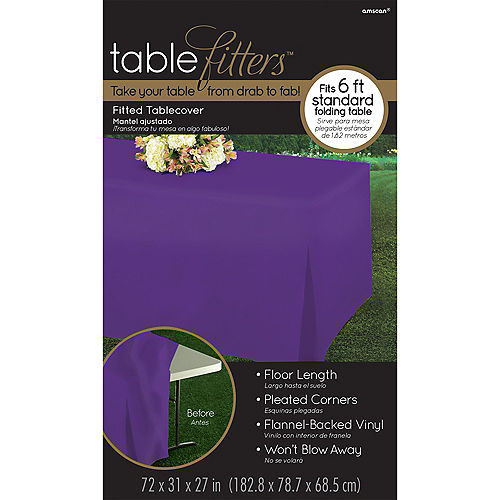 Purple Flannel-Backed Vinyl Fitted Table Cover Image #3