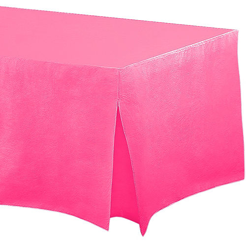 Bright Pink Flannel-Backed Vinyl Fitted Table Cover Image #1