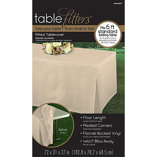 Vanilla Flannel-Backed Vinyl Fitted Table Cover Image #3