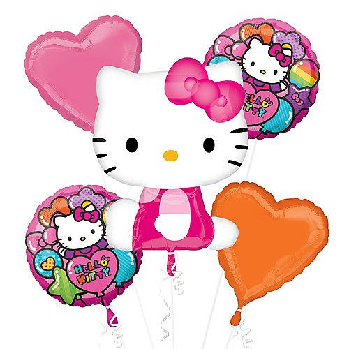 Rainbow Hello Kitty Balloon Bouquet 5pc Image #1