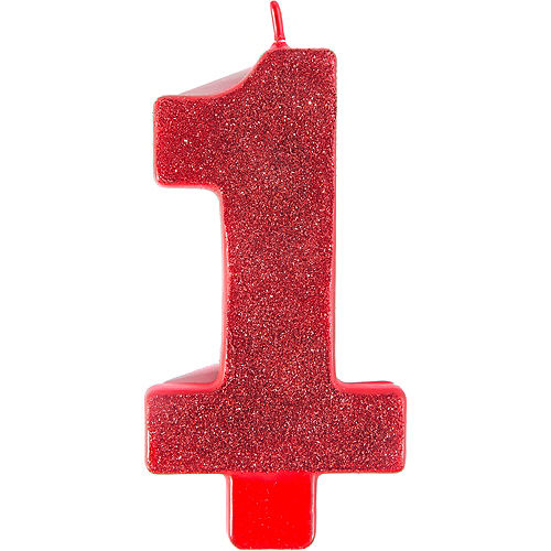 Giant Glitter Red Number 1 Birthday Candle Image #1