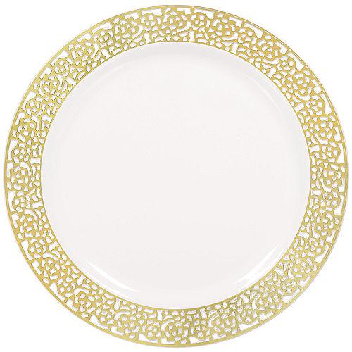 White Gold Lace Border Premium Plastic Dinner Plates 10ct Image #1