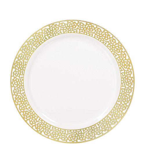 White Gold Lace Border Premium Plastic Lunch Plates 20ct Image #1
