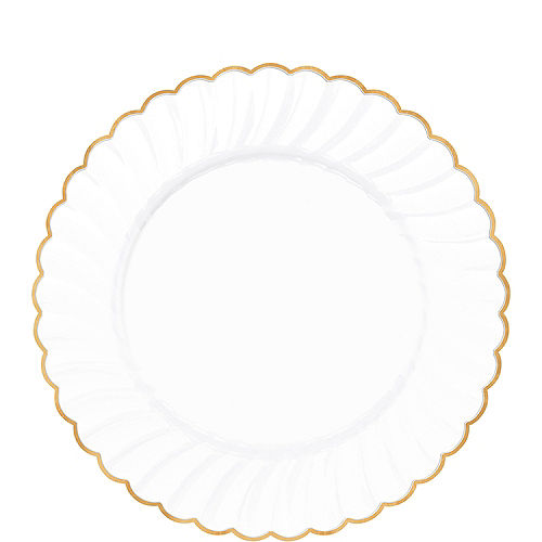 White Gold-Trimmed Premium Plastic Scalloped Lunch Plates 20ct Image #1
