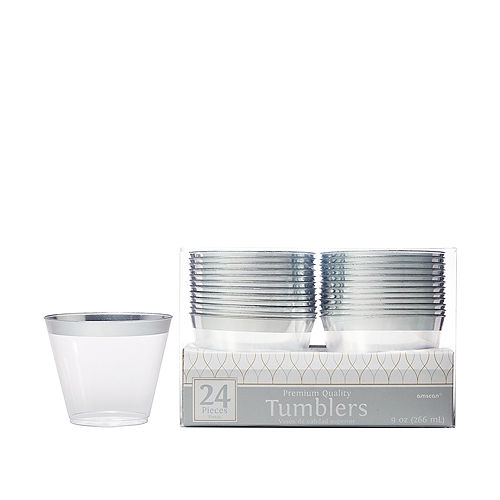 CLEAR Silver-Trimmed Premium Plastic Cups 24ct Image #1