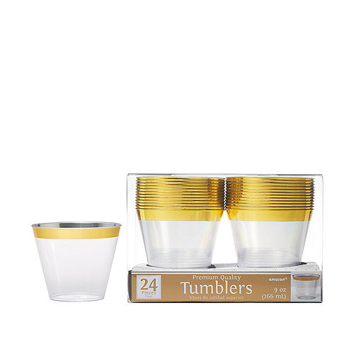 CLEAR Gold-Trimmed Premium Plastic Cups 24ct Image #1