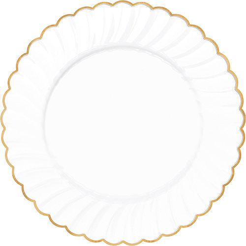 White Gold-Trimmed Premium Plastic Scalloped Dinner Plates 10ct Image #1