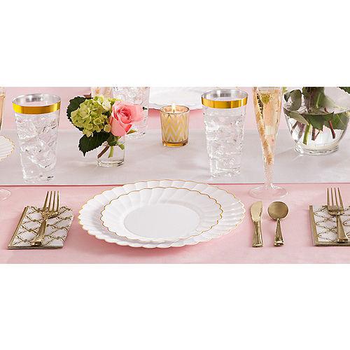 White Gold-Trimmed Premium Plastic Scalloped Dinner Plates 10ct Image #2