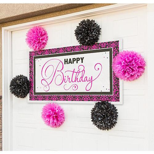 Black & Pink Banner Decorating Kit Image #1