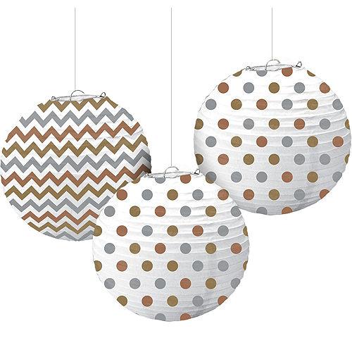 Metallic Polka Dot & Chevron Paper Lanterns 3ct Image #1