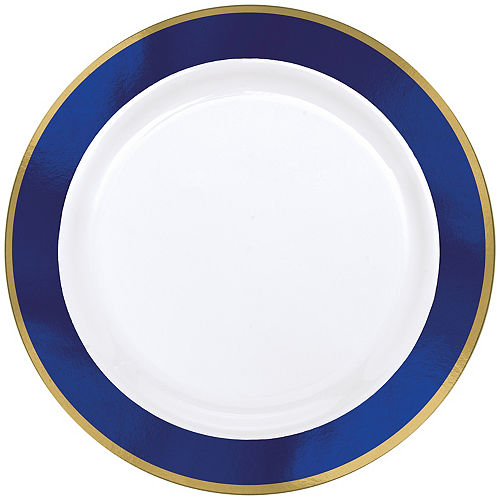 Gold & Royal Blue Border Premium Plastic Dinner Plates 10ct Image #1