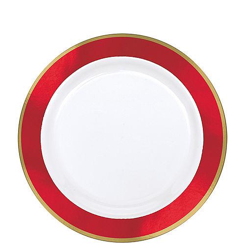 Gold & Red Border Premium Plastic Lunch Plates 10ct Image #1