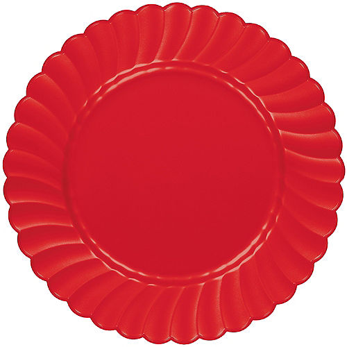 Red Premium Plastic Scalloped Dinner Plates 12ct Image #1