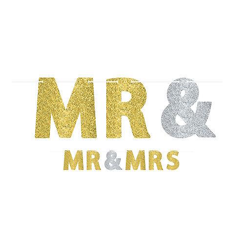 Glitter Mr. & Mrs. Wedding Letter Banner Kit Image #1