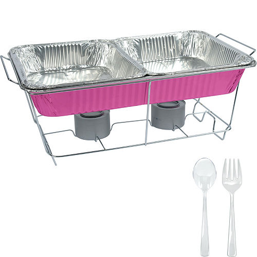 Bright Pink Chafing Dish Buffet Set 8pc Image #1