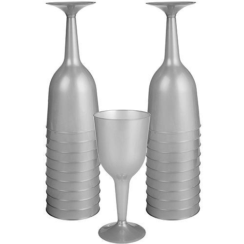 Big Party Pack Silver Plastic Wine Glasses 20ct Image #1