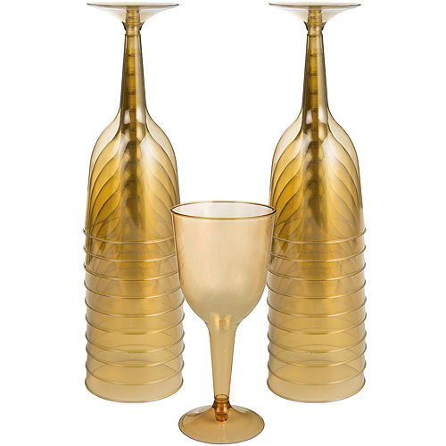Big Party Pack Gold Plastic Wine Glasses 20ct Image #1