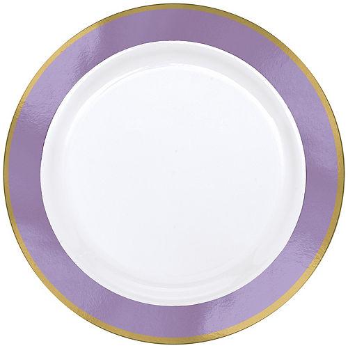 Gold & Lavender Border Premium Plastic Dinner Plates 10ct Image #1