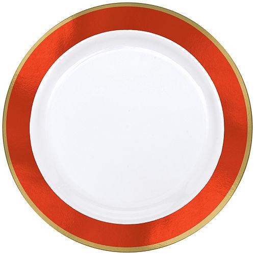 Gold & Orange Border Premium Plastic Dinner Plates 10ct Image #1