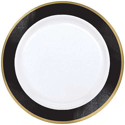 Gold & Black Border Premium Plastic Dinner Plates 10ct Image #1
