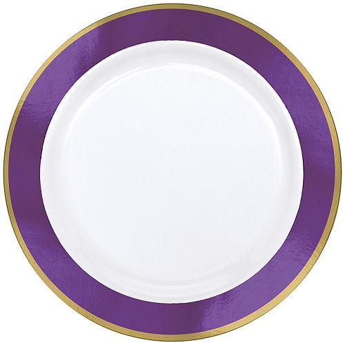 Gold & Purple Border Premium Plastic Dinner Plates 10ct Image #1