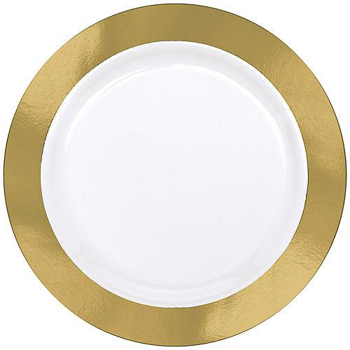 Gold Border Premium Plastic Dinner Plates 10ct Image #1