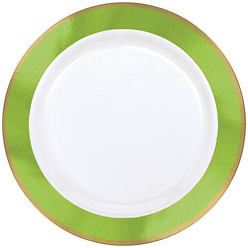 Gold & Kiwi Green Border Premium Plastic Dinner Plates 10ct Image #1